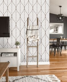 Removable Wallpaper Peel and Stick Geometric Wallpaper Geometric Leaves Wallpaper, Accent Wallpaper, Dining Room Wallpaper, Home Wallpaper, Peel And Stick Wallpaper, Living Room Wallpaper Accent Wall, Laundry Room Wallpaper, Wallpaper In Kitchen, Self Adhesive Wallpaper
