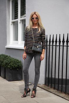 Martha Ward, Leon & Harper Tally Top, checkered, peplum, IDA Rizzo in Foggy London, denim, skinny jeans, grey jeans, Donna Ida, fashion