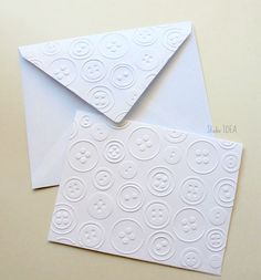Button Embossed Cards - Set of 4 white A2 embossed cards or Choose Your Colors by StudioIdea on Etsy