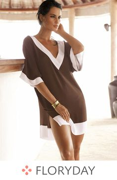 Brown and white fashion beach clothes deep v-neck sexy swimsuit cover ups women brand beach wear dress Beach Wear Dresses, Sexy Dresses, Short Dresses, Fashion Dresses, Dress Beach, Cheap Dresses, Summer Dresses, Mode Du Bikini, Vestidos Sexy