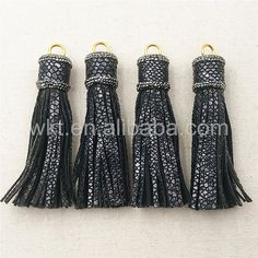 WT-NP247 High Grade Wholesale Genuine Black Leather Tassel Pendant,Fashion Jewelry Findings Rhinestone Pave Tassel Pendant by WKTjewelry on Etsy