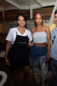 Rihanna wearing Come Tees Duppy Conquer Jeans and Aquazarra Belgravia Flats in Lipstick