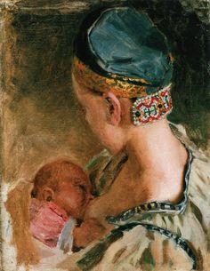 Karelian Mother, Oil On Canvas by Akseli Gallen Kallela Finland) Illustrations, Illustration Art, Vincent Van Gogh, Breastfeeding Art, Museum Studies, Life Paint, Madonna And Child, Art Series, Portraits