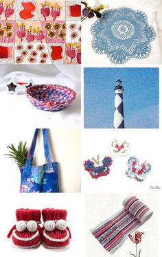 Summer in Red and Blue by Julia on Etsy--Pinned with TreasuryPin.com