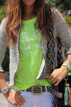baseball T : white jeans : sweater : hippie purse