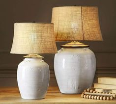 Pottery Barn Large Table Lamp Pairs with Large Shade