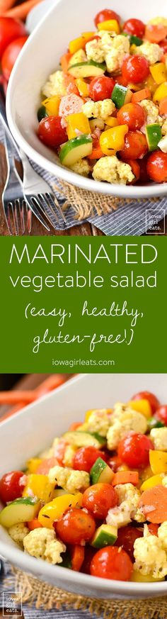 Marinated Vegetable Salad is a healthy, make-ahead salad recipe highlighting crunchy summer vegetables. Quick, easy, and fresh! | iowagirleats.com #glutenfree