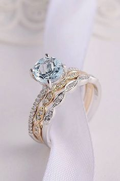 24 Aquamarine Engagement Rings For Romantic Girls ❤️ aquamarine engagement rings solitaire wedding set gold round cut ❤️ More on the blog: https://ohsoperfectproposal.com/aquamarine-engagement-rings/ #weddingring #weddingrings