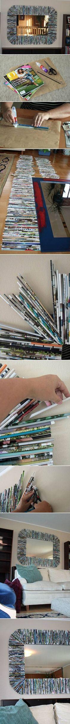 DIY Recycle Magazine Mirror Frame