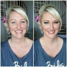 Before/after makeup session by Gina Petersen