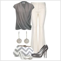 CHATA'S DAILY TIP: Grey and white combine into a cool, super-elegant combination, perfect for an afternoon meeting or business lunch.  A cross-over top flatters a fuller bust. Fit-and-flare trousers are so on–trend this season, and will gently balance out fuller hips. Accessorize in silver to match the cool tones of your outfit. COPY CREDIT: Chata Romano Image Consultant, Marlise du Plessis http://chataromano.com/consultant/marlise-duplessis/ IMAGE CREDIT: Pinterest #chataromano  #fashion