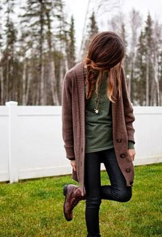 Oversized Cardigan With Skinny Jeans and Leather Boots by beet.sand