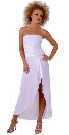 Sexy Long Sophisticated Formal Prom Suitable Tube Dress with Draped Hem from Hot Fash Dresses - EMPRESS TUBE White: Clothing