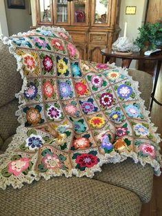Crochet flower blanket.