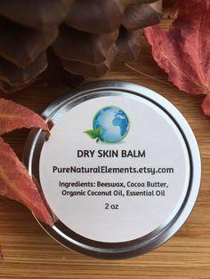 DRY SKIN BALM 2oz Hard Lotion Healing Balm Vegan For Sensitive Skin Holiday Gift Organic Lotion by PureNaturalElements on Etsy