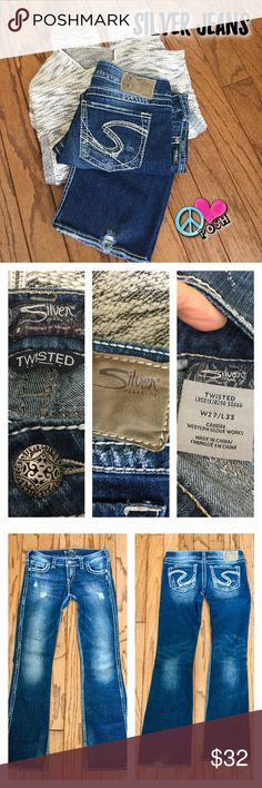 🚺👖Silver TWISTED Jeans 🚺👖 Silver TWISTED Jeans Size 27'W X 33' Long  Medium Dark Wash w/ some COOL Distress Fitted Boot-Cut with some Stretch ❌❌NO TRADE ❌❌❌ Silver Jeans Jeans Boot Cut