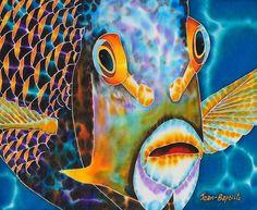 jean-baptiste.com  Hand Painted silk art, angel fish