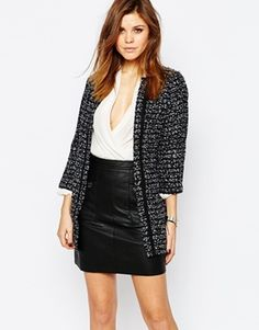 Warehouse - Longue veste en tweed