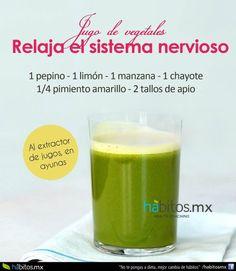 JUGO DE VEGETALES RELAJA EL SISTEMA NERVIOSO Healthy Detox, Healthy Juices, Healthy Smoothies, Healthy Drinks, Healthy Life, Healthy Recipes, Healthy Food, Detox Juice Recipes, Detox Drinks