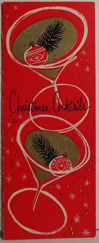 1950s Mid Century Modern Cocktail Invitation Vintage Christmas
