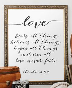 Wedding quote from the bible verse print wall by TwoBrushesDesigns