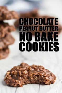 Chocolate Peanut Butter No Bake Cookies - Spaceships and Laser Beams Oatmeal Cookie Recipes, Easy Cookie Recipes, Sweet Recipes, Baking Recipes, Dessert Recipes, Desserts, Quick Dessert, Dessert Ideas, Best No Bake Cookies