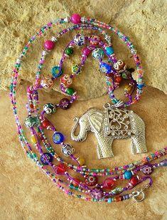 Boho Colorful Necklace Bohemian Hippie Beaded por BohoStyleMe