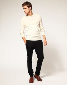 white shirt, black pants and brown shoes, very nice!