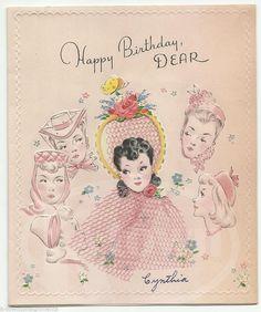 Most popular vintage greeting cards pinterest vintage birthday fancy hat lady girlfriend vintage graphic art birthday greetings card m4hsunfo