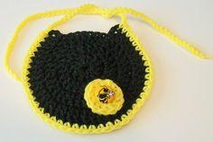 Hand Crocheted Round Black and Gold Georgia by momandmeemporium