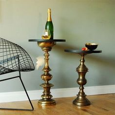 large vintage lamps repurposed as little side tables