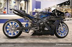 """Not a big fan of """"stretched 'n slammed"""",but the understated look of this R1 with the standout wheels blew me away."""