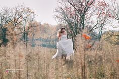 Give your wedding dress a second chance with this Autumn, Fall outdoor photoshoot idea