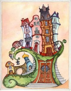 Use this as a starting point for a zentangle design. House Illustration, Illustrations, Wal Art, Storybook Cottage, Ecole Art, House Drawing, Naive Art, Whimsical Art, Art Lessons