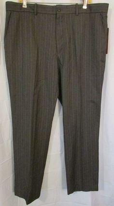 Perry Ellis City Fit Men's 38x30 Charcoal Pin Striped Dress Pants Flat Front NWT #PerryEllis #DressFlatFront