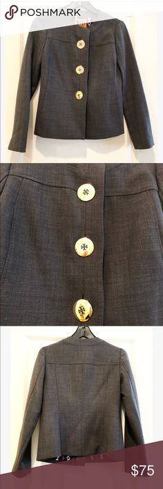 """Gorgeous and Rare Tory Burch Lined Blazer This blazer by Tory Burch has impeccable tayloring and fits like a glove!  The buttons are amazing and really make a statement!  If you are a fan of Tory Burch this is a must have for your closet!  In excellent condition.  Worn once. Measurements: Size 2 Armpit to Armpit 16.5"""" Length almost 23"""" Tory Burch Jackets & Coats Blazers"""