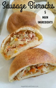 Easy Sausage Bierocks recipe or German burger recipe. Quickly make a tasty meal using Hillshire Farm Polska Kielbasa sausage, frozen rolls, and fresh vegetables.