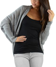 Look what I found on #zulily! Gray Cape-Sleeve Open Cardigan #zulilyfinds