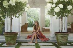 "LOVE the large patina-ed pots with white hydrangea ""tree"""