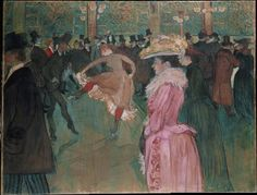 """At the Moulin Rouge: The Dance (1890). Henri deToulouse-Lautrec (French, 1864-1901). Oil on canvas. Philadelphia Museum of Art.    Depicts the specific moment when a man known as Valentine the Boneless teaches the """"can-can."""" Many of the inhabitants of the scene are well-known members of Lautrec's demimonde of prostitutes and artists and people seen only at night including the white-bearded Irish poet William Butler Yeats who leans on the bar."""