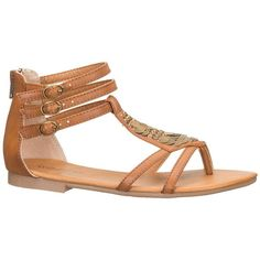 maurices Dory Metallic Disc Gladiator Sandal In Brown ($17) ❤ liked on Polyvore featuring shoes, sandals, flats, sapatos, brown, metallic sandals, floral flats, brown strappy sandals, gladiator sandals shoes and studded flats