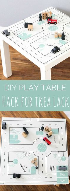 Super cool way of turning the cheap Ikea Lack table into a fun play table for driving small cars | Ikea Lack Hack | Lack Play Table | Lack Stickers | Lack Table hack | Ikea Lack DIY | #ad (Affiliatelink - I will earn a small commission if you click on thi
