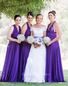 Purple love  with stunning bride Aleena with her tall beauties bridal party in Goddess By Nature signature multiway ballgowns that we custom made extra length to cater for all heights, shapes & sizes. Our truly versatile dress that flatters and suits all & looks amazing with the baby breaths bouquets Stockist  CC's Boutique Toukley  www.goddessbynature.com  #goddessbynature #goddessbynaturebridalparty #bride #bridetobe #weddingphoto #wedding #weddinggown
