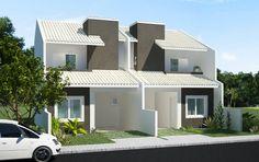Fachada moderna de uma casa lado a lado