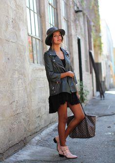 2013 Boots: Chloe /Bag: Goyard/Dress: Free People/ Leather jacket: HIDE c/o ASOS/Hat: Janessa Leone