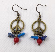 Boucles d'oreilles Hippie entièrement fait main Pierres semi-précieuses Turquoise Corail Lapis lazuli