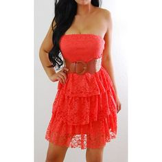 rue 21 clothing   RUE 21 Coral Orange Floral Lace Teir Forever Belted Empire Mini Dress ...