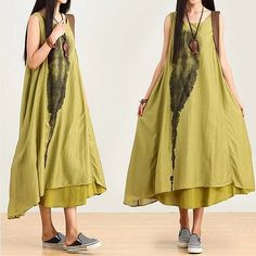 3-colors Irregular loose linen roll dyeing ethnic style dress / Summer maxi dress -silk Ink printing sleeveless dress (406) on Etsy, £42.99