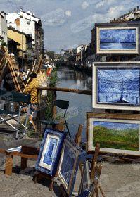 Paintairs on Navigli Milan, City, Painting, Party, Painting Art, Cities, Paintings, Painted Canvas, Drawings