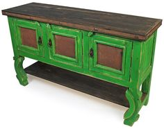 Rustic Painted Wood Buffet with Ox Yoke Legs and Tin Panelled Doors